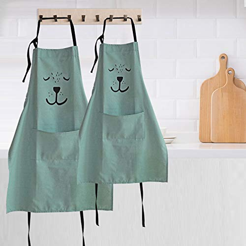 YOLOPLUS+ 2 Pack Cartoon Cotton Apron Cute Bear Parent and Child Apron,Father Mother Son Daughter Matching Set Adult and Kid for Cooking,Baking,Painting,Coffee Shop.Party (Green)