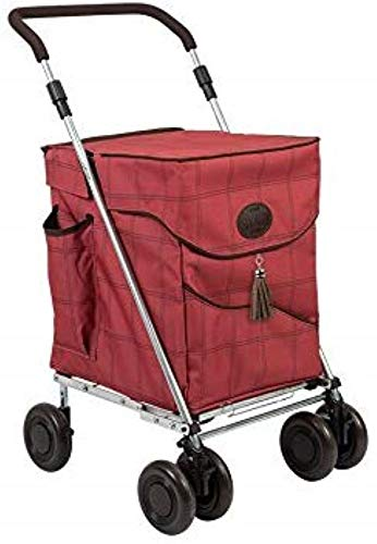 Sholley® New Deluxe Range - 'The Mayfair' Rich Raspberry Check Design - Opvouwbare boodschappenwagen, kruidenierswagen Regular Mayfair