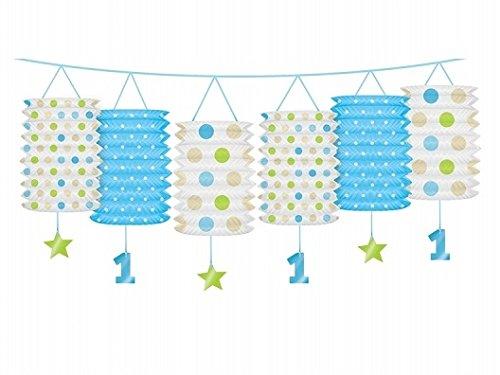 Laternen-Girlande zum ersten Geburtstag in blau oder rosa - Geburtstagsdekoration (blau)