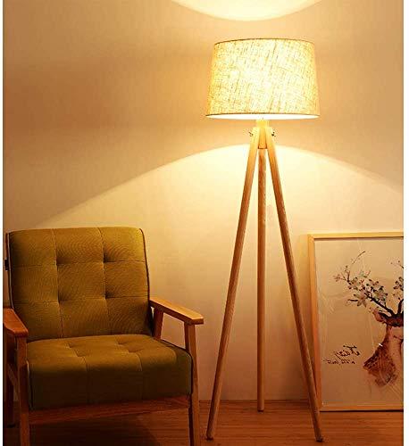 DLLT Led Skandinavisch Stehlampe aus Holz mit Fußschalter, 3000k Warmweiß mit E27-Glühbirne & Leinen Lampenschirm, Klassisch Standleuchte für Wohnzimmer, Schlafzimmer, Bettseite, Arbeitszimmer