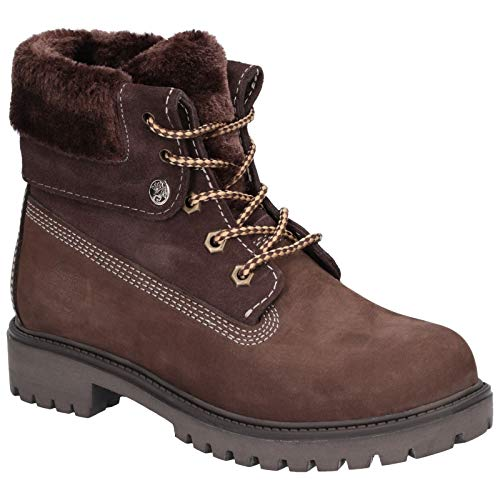 Darkwood Womens Walnut II Fur Trimmed Lace Up Ankle Boots