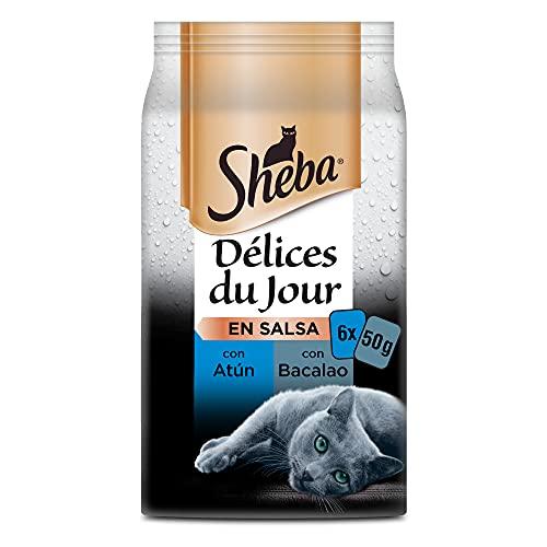 Sheba Délices du Jour Comida húmeda para Gatos, Sabor Pescado, Multipack (Pack de 12 x 6 bolsitas x 50g) ⭐