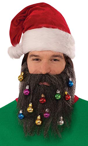 Forum Men's Brown Santa Beard with Christmas Ornaments, Multi, One Size