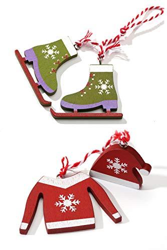 Aitsite Set di 6 Ornamenti Natalizi in Legno-Pendente per Tuta da Sci Ornamenti Appesi Decorazione per Sport Invernali Ornamenti per Alberi di Natale in Legno Etichette Ciondolo(Rosso)