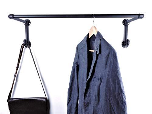 Garderobe 90cm sehr stabil handgefertigt in Deutschland - schwarz aus Metall - 80cm Kleiderstange und 2 Kleiderhaken im Industrial Vintage Design