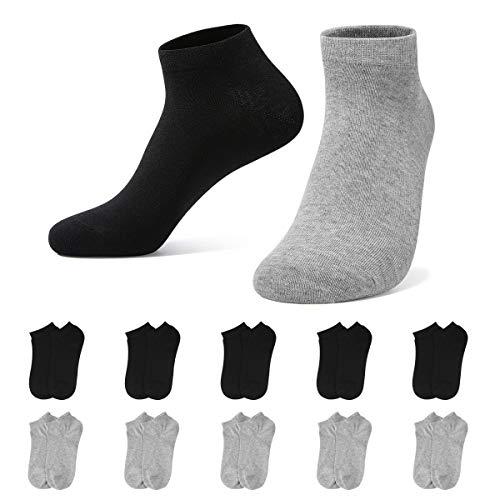 YOUCHAN Sneaker Calzini Uomo Donna Calze Sportive Corta 10 Paia Cotone Unisex(Nero-grigio,39-42)
