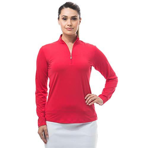 SanSoleil Damen UV 50 Sunglow Langarm Zip Mock Top XX-Groß rot