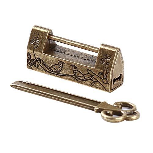 Sperrins Schlüssel Vintage Antike Eisen Chinesischen Alten Schloss Retro Messing Vorhängeschloss Schmuck Holzkiste Vorhängeschloss für Koffer Bronze