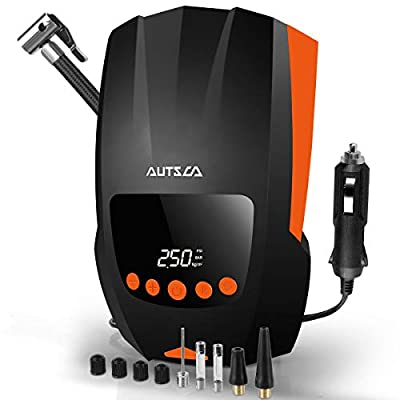AUTSCA Portable Air Compressor Digital Tire Inflator for Car, DC 12V 150PSI with Emergency LED Light, Auto Shut Off and the barometric pressure measurement function air pump for car, ect from AUTSCA