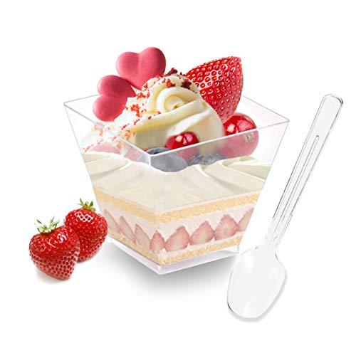 Hbsite Bicchieri da Dessert 50 Pezzi 2 Once con cucchiai in plastica Trasparente semifredda Tazza Quadrata Ciotola da Portata USA e Getta per degustazione di Feste