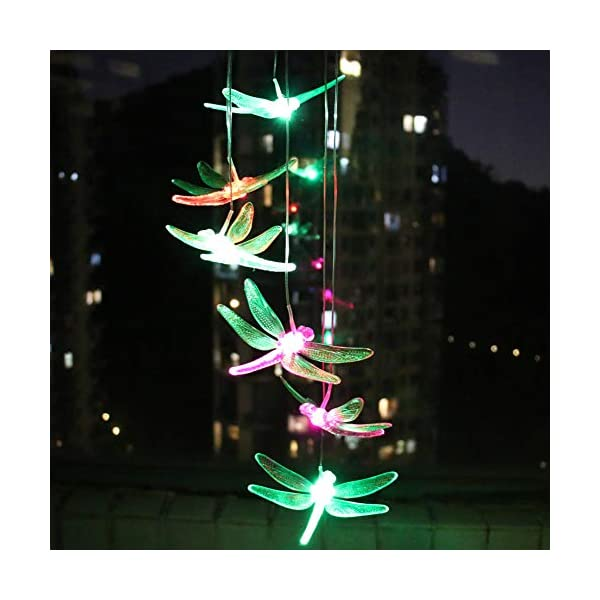 KUAHAIHINTERAL Solar Power Wind Chime Light Spiral Spinner Decorative Mobile Waterproof Outdoor Romantic Wind Bell Light… 1