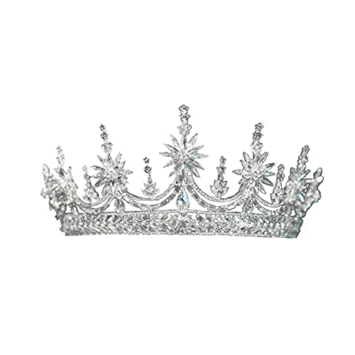ZHANGQQ Crystal Tiara Crown,Gold Crown Ladies Crown and ti Crown, European Style Retro Baroque Crown Wedding Bridal Accessories, Atmospheric Crown Jewelry