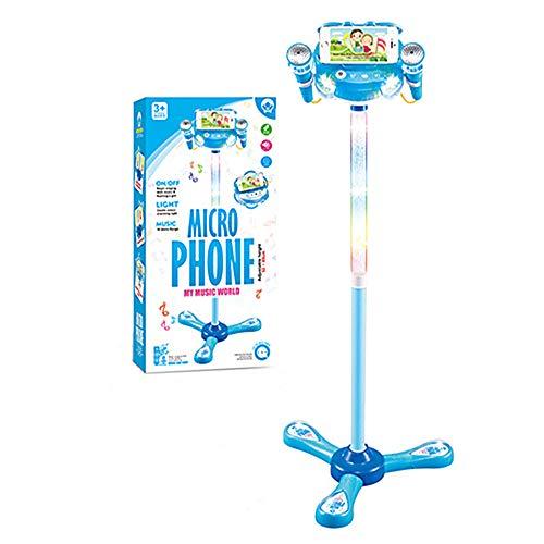 WETCEAOM Karaoke Infantil con pie, con 2pcs Micrófono ,Luces LED para niños (azul)