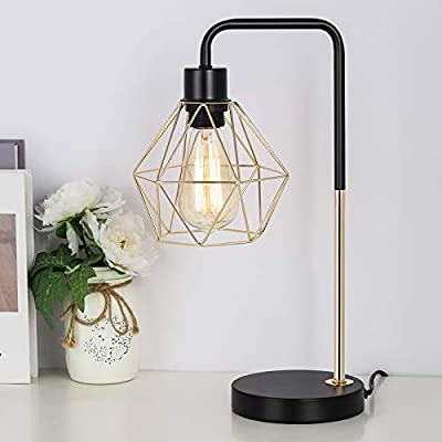 Industrial Gold Desk lamp with Metal cage, Edison nightstand Table Lamps for Bedside Dressers Coffee Table Study Desk in Bedroom, Guest Room, Office