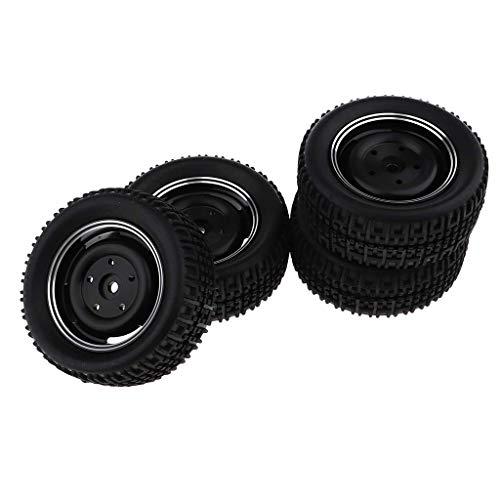 Neumático de llanta de rueda 4X para WPL C14 C24 Camión militar RC Crawler Accesorios para automóvil Negro