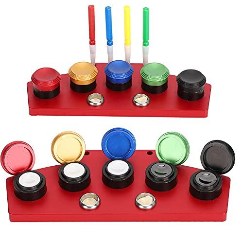 Engrasador de Reloj de 5 Platos, Engrasador de Reloj de Metal, Herramienta de Inmersión de Aceite, Accesorio de Reparación de Relojes para Relojeros(Rojo + 4 bolígrafos de aceite)