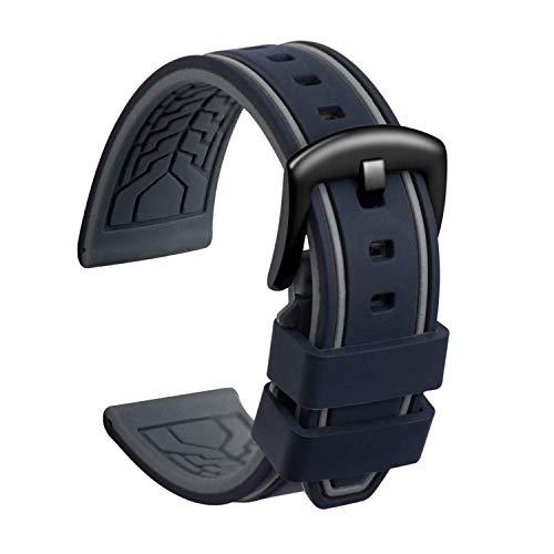 ULLCHRO Unisex Kautschuk Armband mit Gebürstete Edelstahl Silber Schnalle 22mm Schwarz Grau