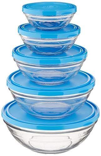 Duralex 525097 Stackable Service de 5 saladiers Ronds avec Couvercle Bleu Lys-diamètre 12/14 / 17/20,5/23 cm, Transparent