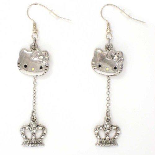 Pendientes de Sanrio Hello Kitty 'Crown' con colgante de cristal austriaco en caja de regalo