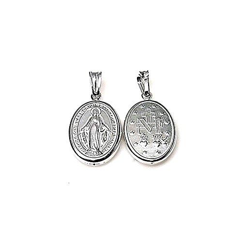 Medalla Colgante Plata Ley 925M Virgen Milagrosa 18mm. Unisex Oval Tallada Ambas Caras Cerco
