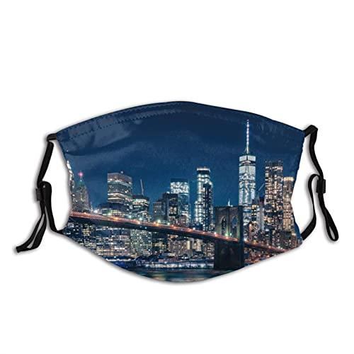 Cagoule en tissu réutilisable lavable pour homme et femme Motif pont de Brooklyn à la tombée de la nuit Noir