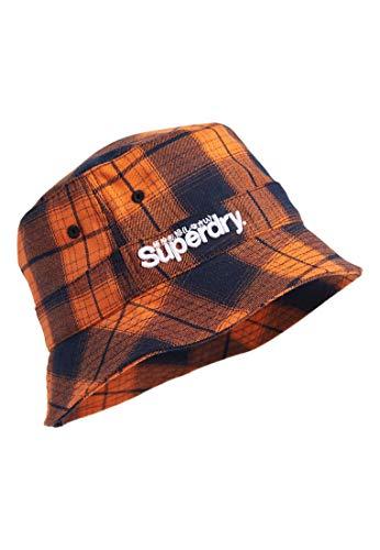 Superdry Mens DETRIOT BUCKET HAT Headband, Orange Check, S/M