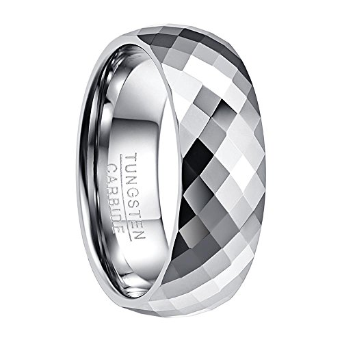 NUNCAD Ring Damen 8mm breit Silber mit Kuppelform, Unisex facetieter Wolframring für Hochzeit, Verlobung, Ehe, Partnerschaft, Größe 57 (17)