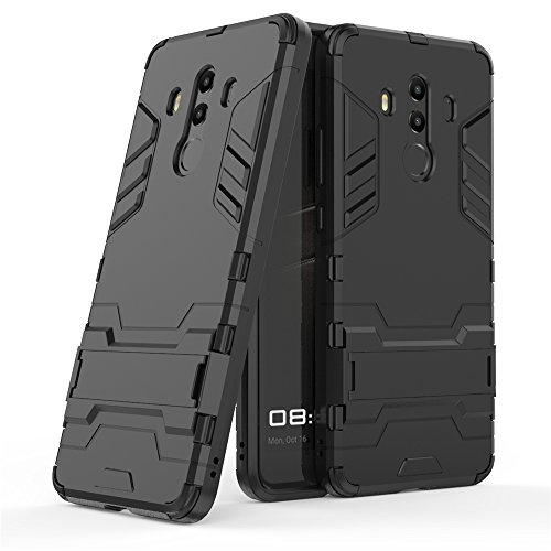 Huawei Mate 10 Pro Hülle, GOGME [Tough Armour Series] Rugged Anti-Scratch PC Rückwand Schale + Shockproof TPU Stoßfänger + Faltbarer Halterungen. schwarz