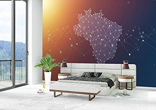 Canvas Wallpaper Self-Adhesive Removable Wall Painting Poster Sticker Craft Wall Sticker Brazil Map Geometric Network Polygon Graphic Background Home Decoration Bedroom Living Room