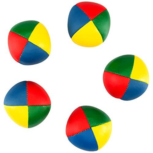 5er Set Diabolo Premium Soft Jonglierbälle vierfarbig - 58mm Ø ✓ Jonglierball Füllung aus hochwertiger Vogelhirse ✓ Wasserabweisend ✓ softes Kunstleder I Jonglier-Set für Kinder & Jugendliche