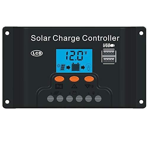 Javpoo Regulador de Carga del regulador del Panel Solar LED PWM USB 40A 12V-24V con Doble USB