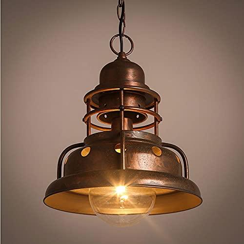 NAMFHZW Industria antigua Lámpara colgante de techo con acabado de metal envejecido Lámpara colgante E27 1 luz Lámpara suspendida semi-incrustada Conjunto de altura ajustable Luminaria Bar Café Restau