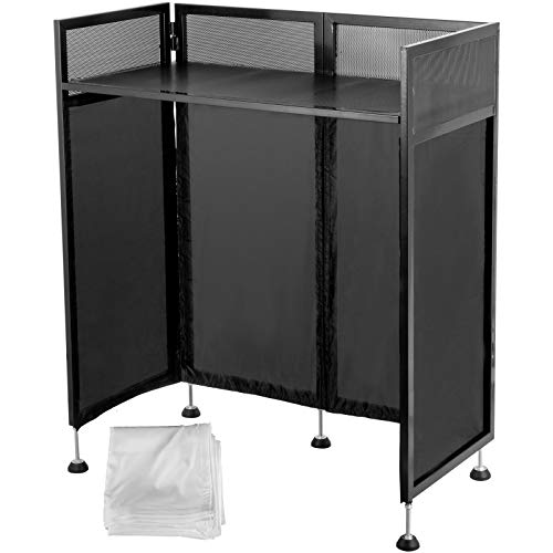 Happybuy 20x40x45 Inches DJ Facade Table Station, DJ Booth Flat Table Top 20x40 Inch, Adjustable DJ Event Facade with White & Black Scrim, Folding DJ Booth Metal Frame, Foldable Cover Screen