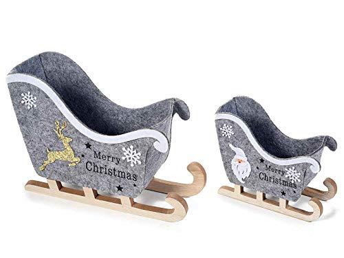 Deko Weihnachtsschlitten aus Filz mit Holzkufen 2er Set Weihnachtsfigur Filzdeko für Weihnachten