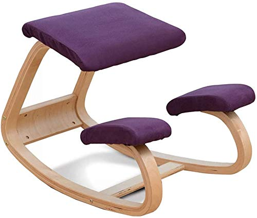 Chair Ergonomic Kneeling Back Support, Neck Pain & Spine Tension Relief Rocking Kneel Seat with Orthopedic Soft Knee Cushions Kneeling Office, Purple