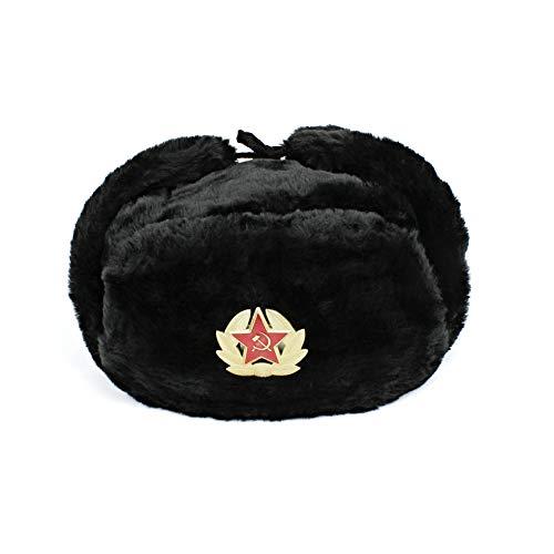 Heka Naturals Cappello Militare Russo con Paraorecchie e Distintivo Sovietico Rimovibile, Cappello Invernale Trapper da Sci Nero, Un Grande Regalo dell'URSS | Nero 60 cm