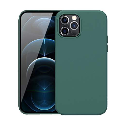 Carcasa de silicona para iPhone 12 mini compatible con MagSafe, imanes integrados, gel de silicona líquida de goma fina para iPhone 12 Mini, color verde
