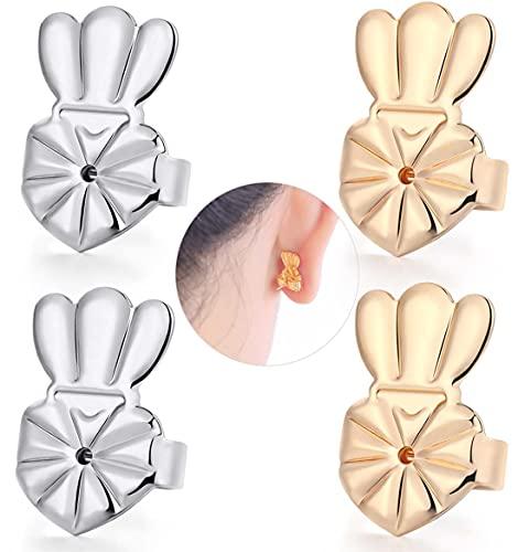 DELECOE Earring Lifters Hypoallergenic Earring Backs for Droopy Ears Adjustable Secure Earring Backs Repacements for Heavy Studs Droopy Earrings (Gold&Silver)
