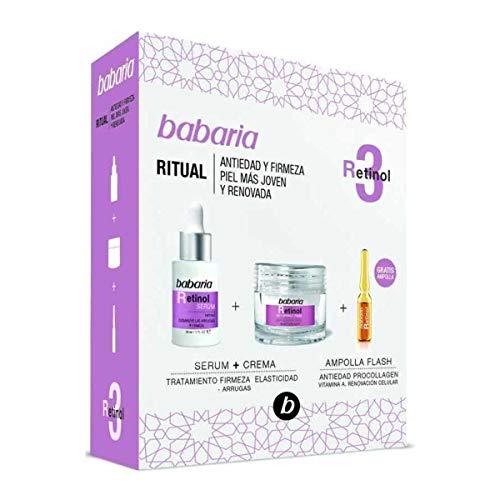 Babaria, Pack facial Retinol compuesto por un Serum Retinol 30ml, una Crema Facial Retinol 50ml y una Ampolla Flash Facial Retinol 2ml