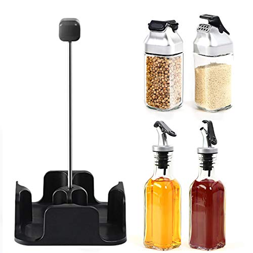 Oil and Vinegar Salt Pepper Dispenser Set, Non-Drip Spouts with Storage Tray for Home and Kitchen