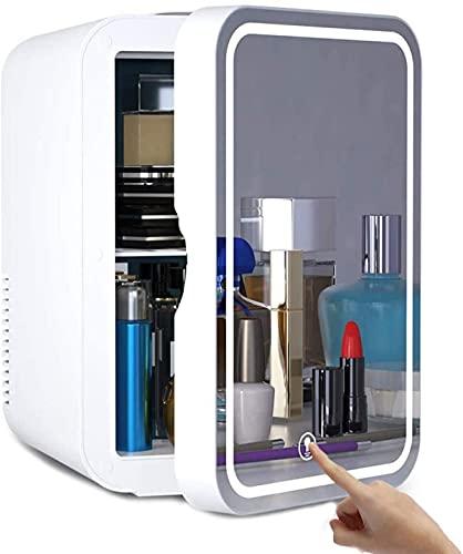 QMYYHZX Mini refrigerador,Mini Nevera Portátil para el Skincare de 8 litros, Pantalla táctil LED con luz LED y Espejo de Maquillaje, refrigerador frío/Calor, Adecuado para Enfriar y Calentar