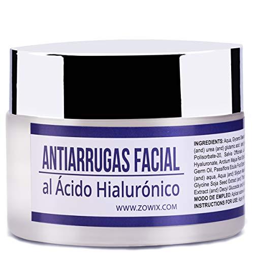 ZOWIX Crema antiarrugas piel grasa mujer y hombre. Matificante al Acido Hialuronico, Antibrillos. Sin Parabenos 50ml.
