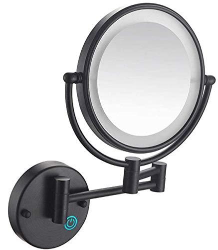 Espejo de maquillaje de pared de 8 'con luces LED 5x Espejo de tocador de maquillaje de pared de doble cara, botón táctil y luz ajustable, maquillaje de afeitado en el dormitorio o el baño Recarga US