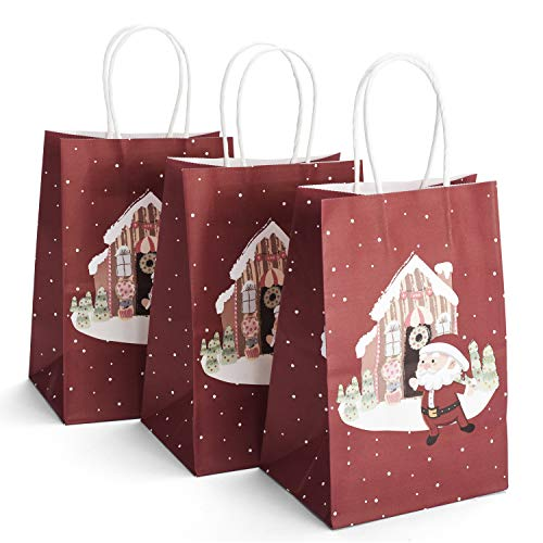 GSSUSA Paper Bags 5.25'x3.75'x8' 100PACK Inches Small Gift Bags with Handles Party Bags Shopping Bags Kraft Bags 100% Recyclable Paper