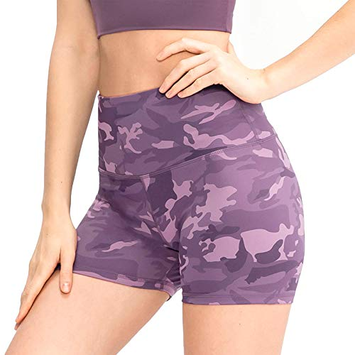 U/D Women's High Waisted Yoga Shorts Tummy Control Workout Camouflage Shorts for Women