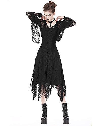 QinMM Top da Donna Camicetta a Manica Lunga con Scollo a Barchetta Senza Maniche in Stile Punk Gotico