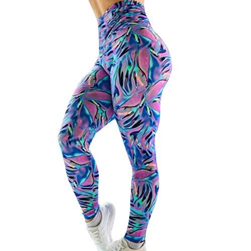 Xmiral Yoga Hosen Damen Leggings Gamaschen Gedruckte Hohe Taille Sporthose Elastizität Hosen Laufen Joggen Fitnessstudio Trainieren(V,S)