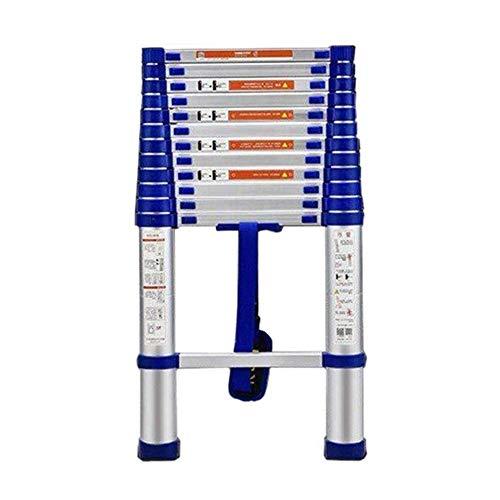 GuoEY Escalera Recta telescópica de 13.6 pies con Rueda, Escalera de extensión Plegable de Aluminio de 14 escalones para Oficina de ingeniería, Capacidad de 330 LB