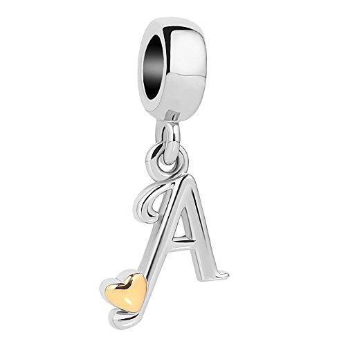 UNIQUEEN Golden Heart Letter A Initial Alphabet Beads Dangle Charms for Charm Bracelets