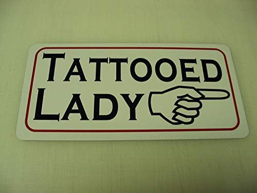 """Tattooed Lady Metal Sign For Tattoo Shop Freak Show Vintage Aluminum Metal Signs Tin Plaque Wall Art Poster For Garage Man Cave Cafe Bar Pub Club Patio Home Decoration 12""""x6"""""""
